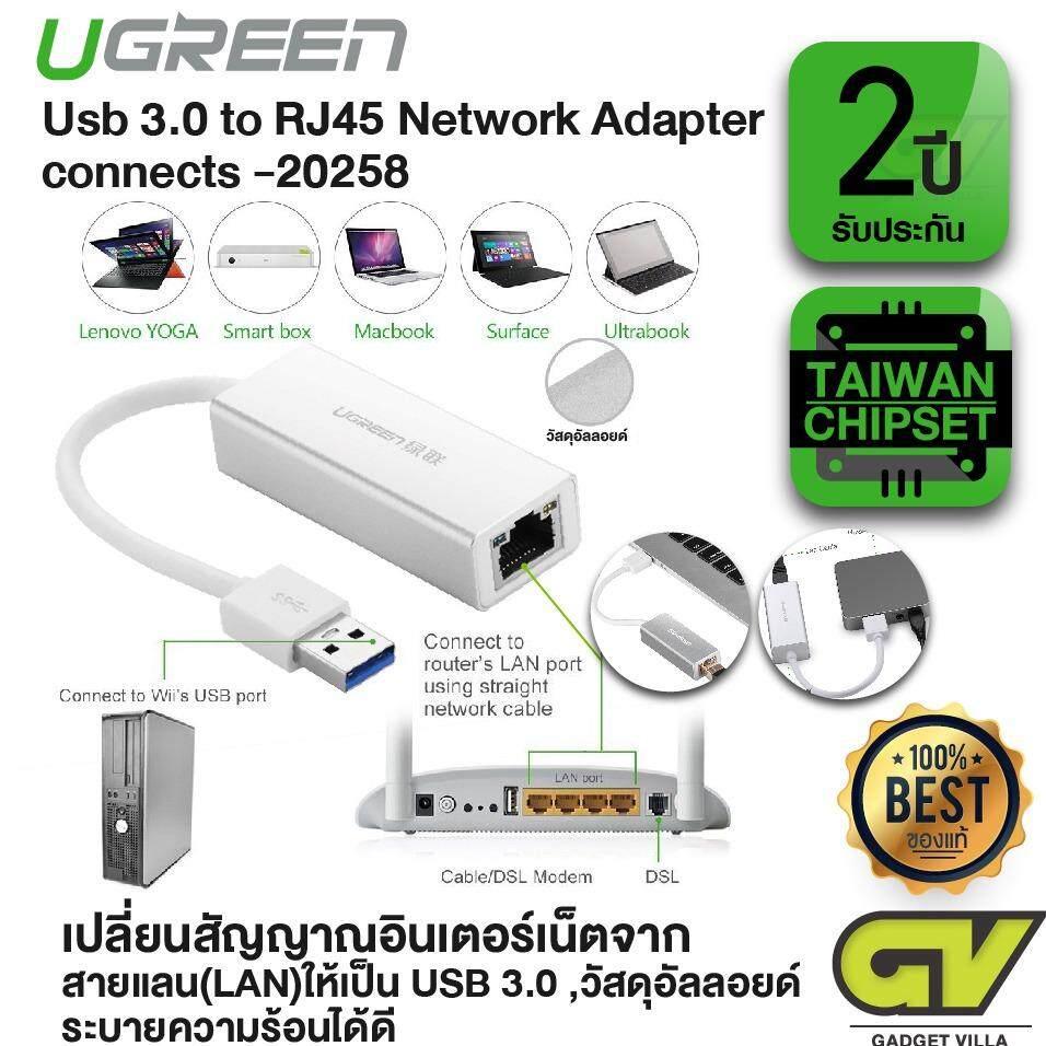 ขาย Ugreen รุ่น 20258 ปลั๊กแปลงสัญญาณ Usb 3 ไปสายอินเตอร์เน็ท Rj45 Gigabit Ethernet Network Lan Adapter 10 100 1000Mbps ใช้งานได้กับ Windows 10 8 1 8 7 Xp Vista Mac Os 10 5 And Above Linux Chrome Os Silver Ugreen