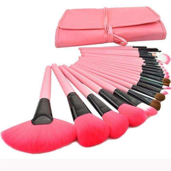 ขาย ชุดแปรงแต่งหน้า 24 ชิ้น ขนสังเคราะห์นิ่มพิเศษ Pink Unbranded Generic ออนไลน์