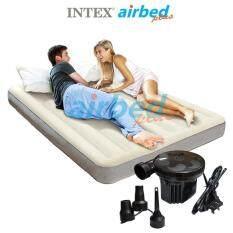 Intex ส่งฟรี ที่นอนเป่าลม ดูรา-บีม แค้มป์ แคมป์ปิ้ง ปิคนิค 5 ฟุต (ควีน) 1.52x2.03x0.25 ม รุ่น 64709/64103 + ที่สูบลมไฟฟ้า
