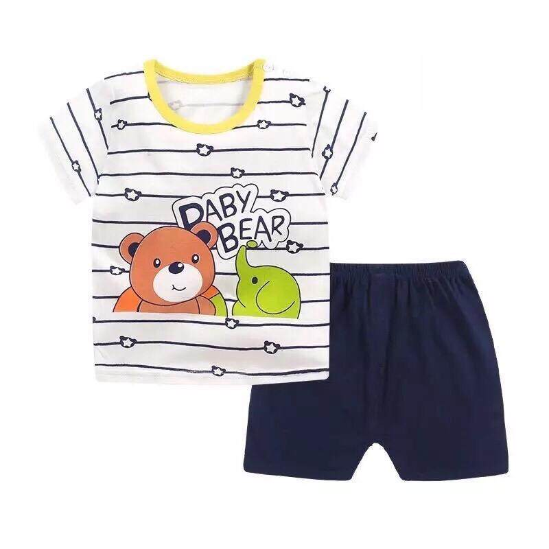 ❤️sale! Baby ชุดนอน เซต 2 ชิ้น เสื้อ+กางเกงขาสั้น ใส่สบายเนื้อผ้า Cotton ไซส์ 80-110cm / 9เดือน- 4ปี.