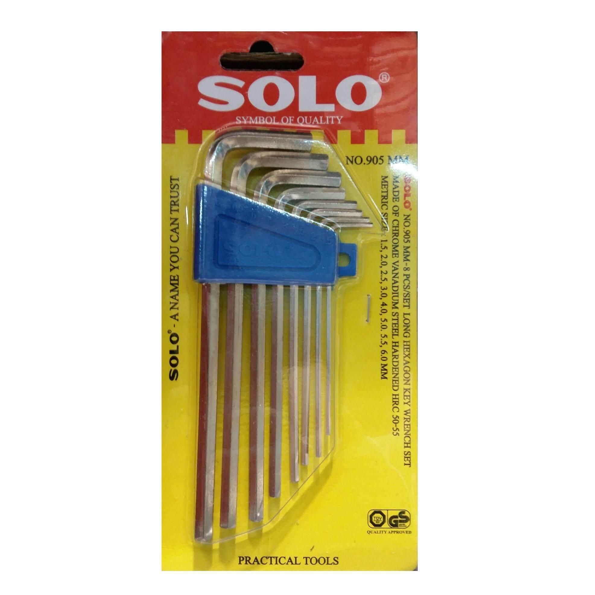Solo โซโล ประแจหกเหลี่ยมชุบขาวแบบยาว Cr-V รุ่น 905 (8ตัว/ชุด) By Voraphan.