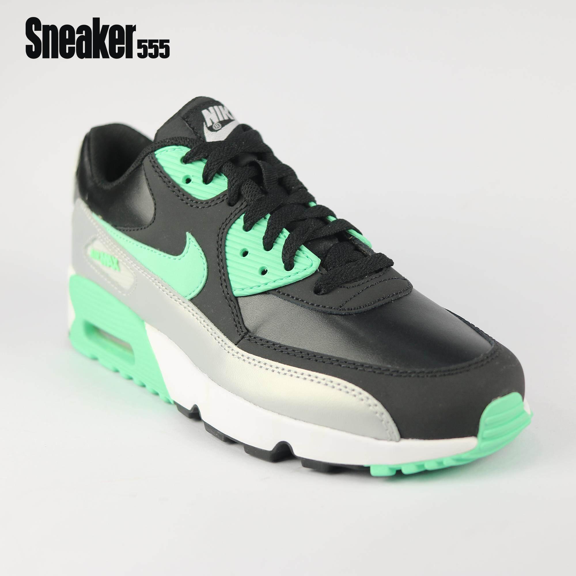 พะเยา ไนกี้ รุ่น Air max 90 LTR GS รองเท้าลำลอง สำหรับผู้หญิง สีดำ-เขียว-เทา-ขาว - Nike Air max 90 LTR GS women casual shoes black / green glow-mtlc platinum