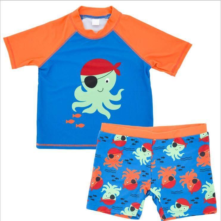 ชุดว่ายน้ำเด็กผู้ชาย 1-6 ปี เสื้อ+กางเกง ลายโจรสลัดปลาหมึก ไซต์ S-3XL # 9020