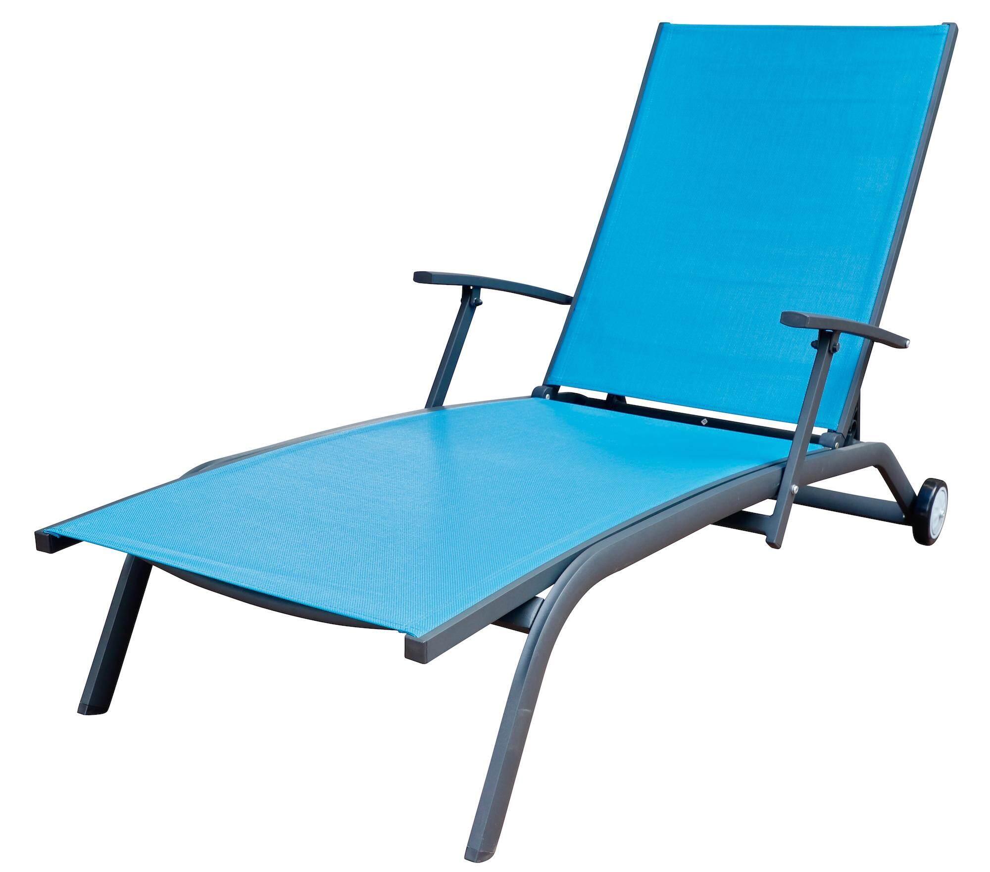 เตียงสระว่ายน้ำ - ล้อเลื่อนปรับนอนได้ สำหรับระเบียง (สีน้ำเงิน).