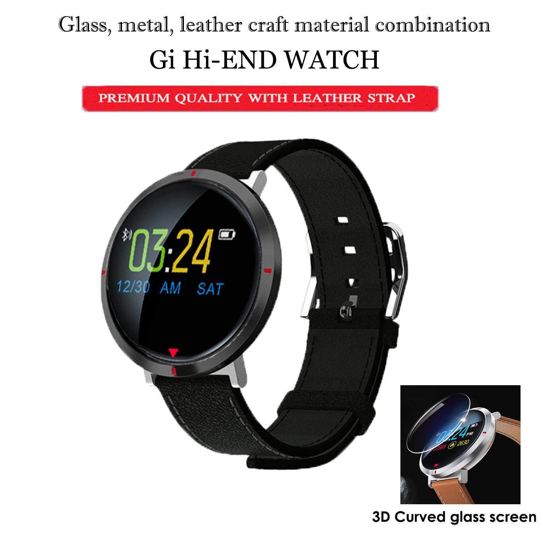 Gi Hi-End Training Watch นาฬิกาออกกำลังกายสุดพรีเมี่ยม สายหนัง วัดการเต้นหัวใจ นับก้าว ระยะทาง แคลอรี่ ความดัน วัดค่าออกซิเจนในเลือด อย่างแม่นยำ  สั่งการถ่ายรูป แจ้งเตือนการโทร,sms เชื่อมต่อบลูธูทความเร็วสูง มีรับประกันศูนย์ไทย   By G-Item.