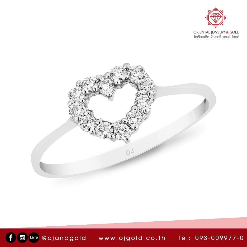 สุดยอดสินค้า!! [ผ่อน 0% 10 เดือน] OJ GOLD แหวนเพชรแท้ ทองแท้ น้ำ 100 มีใบรับประกัน  ส่งฟรี kerry GEOMETRY HEART