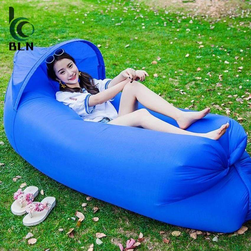 ขาย 【Bln Outdoor】240 70Cm Fast Inflatable Lazy Bag Air Sleeping Bag Camping Portable Air Sofa Beach Bed Air Hammock Nylon Banana Sofa Lounger Unbranded Generic ถูก