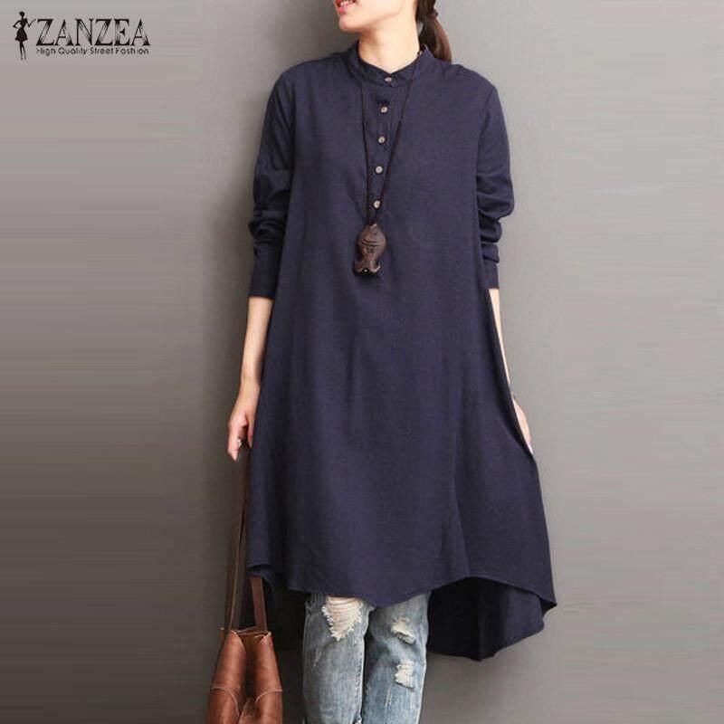 ZANZEA Fashion Cotton Linen Kaftan Round Neck Long Sleeve Mid-Calf Dress Buttons Asymmetric Hem
