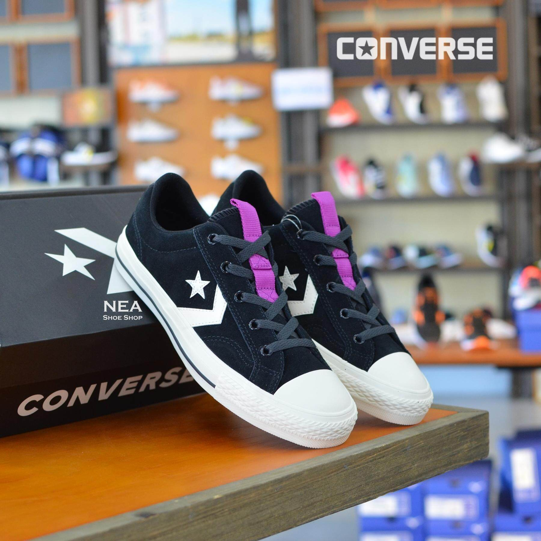 การใช้งาน  ตาก [ลิขสิทธิ์แท้] Converse Star Player (Suede) ox สี ดำ/ม่วง รองเท้าผ้าใบ