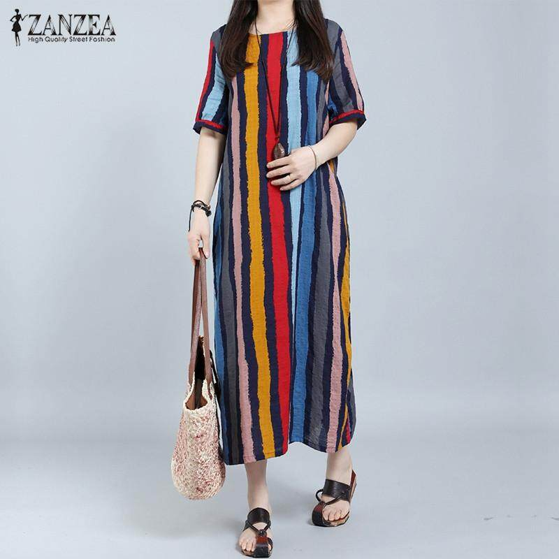 ZANZEA Summer Fashion Women Short Sleeve Maxi Long Dress Boho Casual  Striped Loose O Neck Dresses d13717a9e306