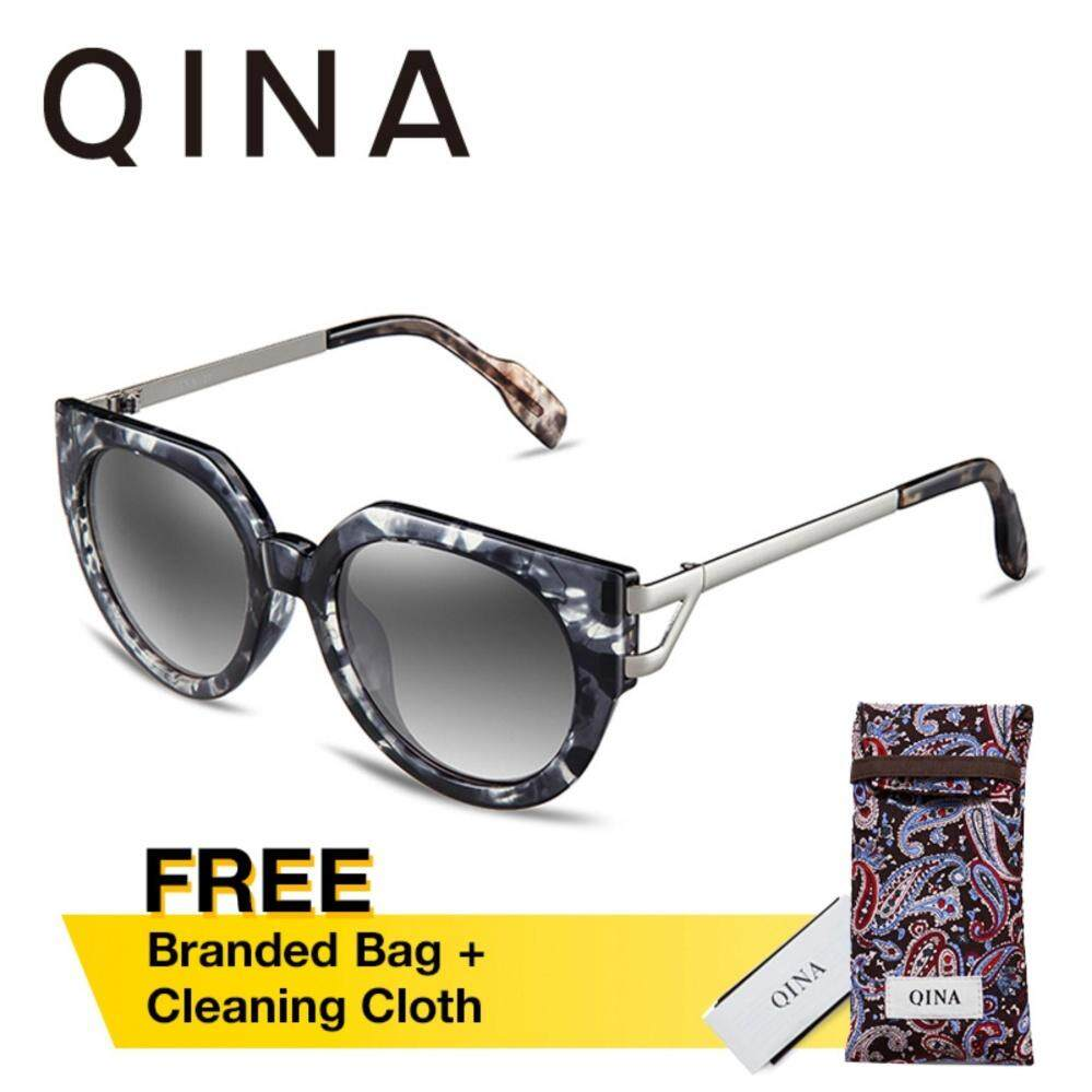ขาย Qina แว่นกันแดดโพลาไรซ์สำหรับผู้หญิงกรอบทรงตาแมวหลากสีขาโลหะเลนส์ป้องกันรังสี Uv400 สีเทา Qn3519 Qina เป็นต้นฉบับ