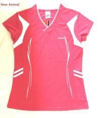 Sports เสื้อออกกำลังกายผู้หญิง สีชมพู แต่งสีขาว_Model01