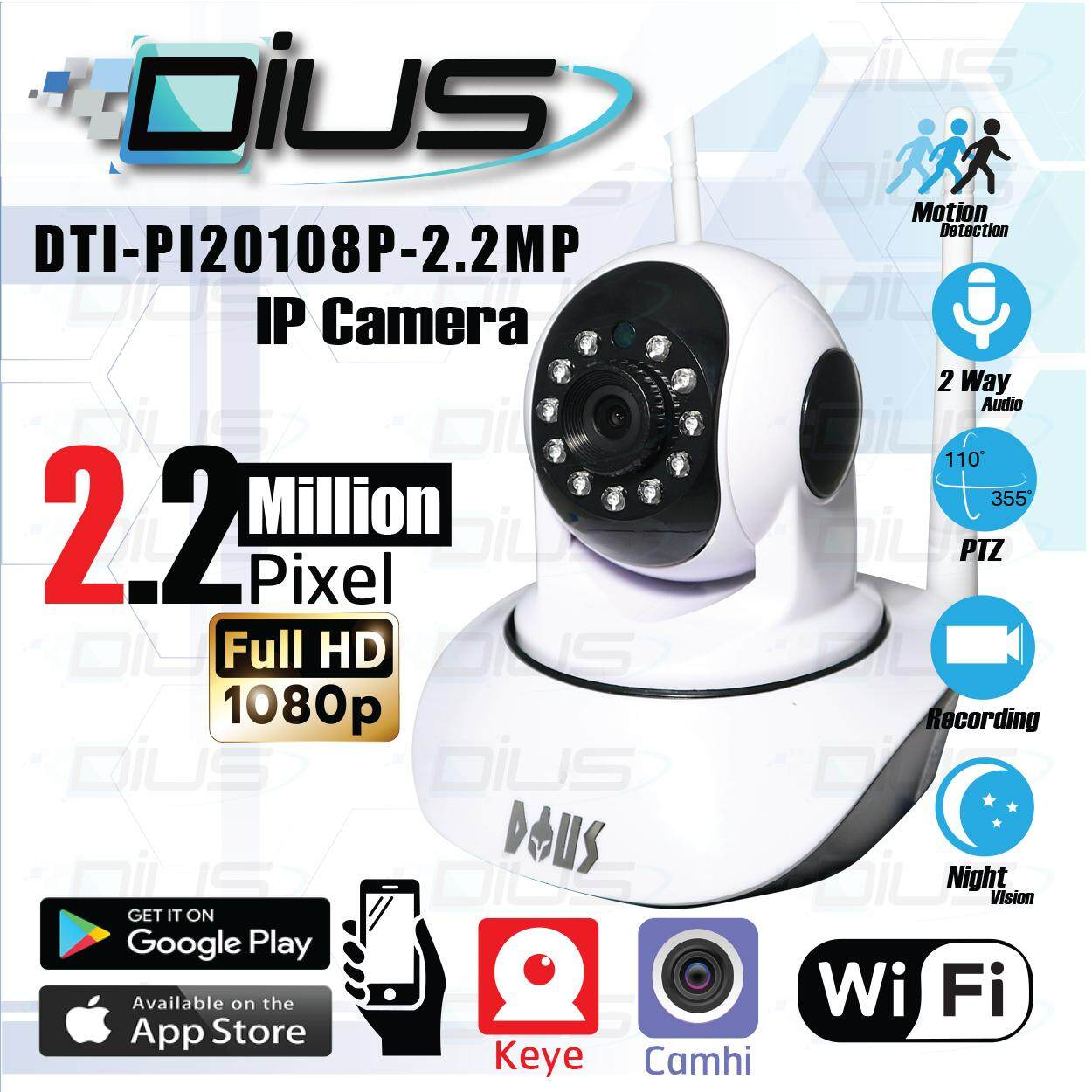 กล้องวงจรปิด กล้องไอพี Full Hd 1080p Wifi / Wirless Ip Camera Robot 2.2 Mp ( App : Keye ) And ( App : Camhi ) By It Express.
