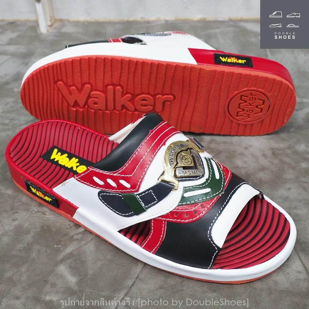 [รุ่นใหม่] Walker รองเท้าแตะหนังแท้ (ไสตล์เทวิน) พื้นนิ่มกว่าเดิม รุ่น N2267 สีแดง เบอร์ 39-45
