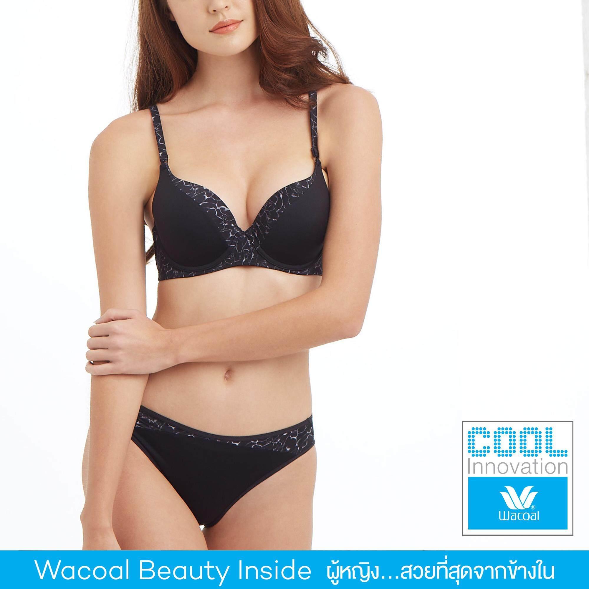 Wacoal Cool innovation เซ็ทชุดชั้นในกางเกงชั้นใน Push up Bra 3/4 Cup - WB5P49-W65P49