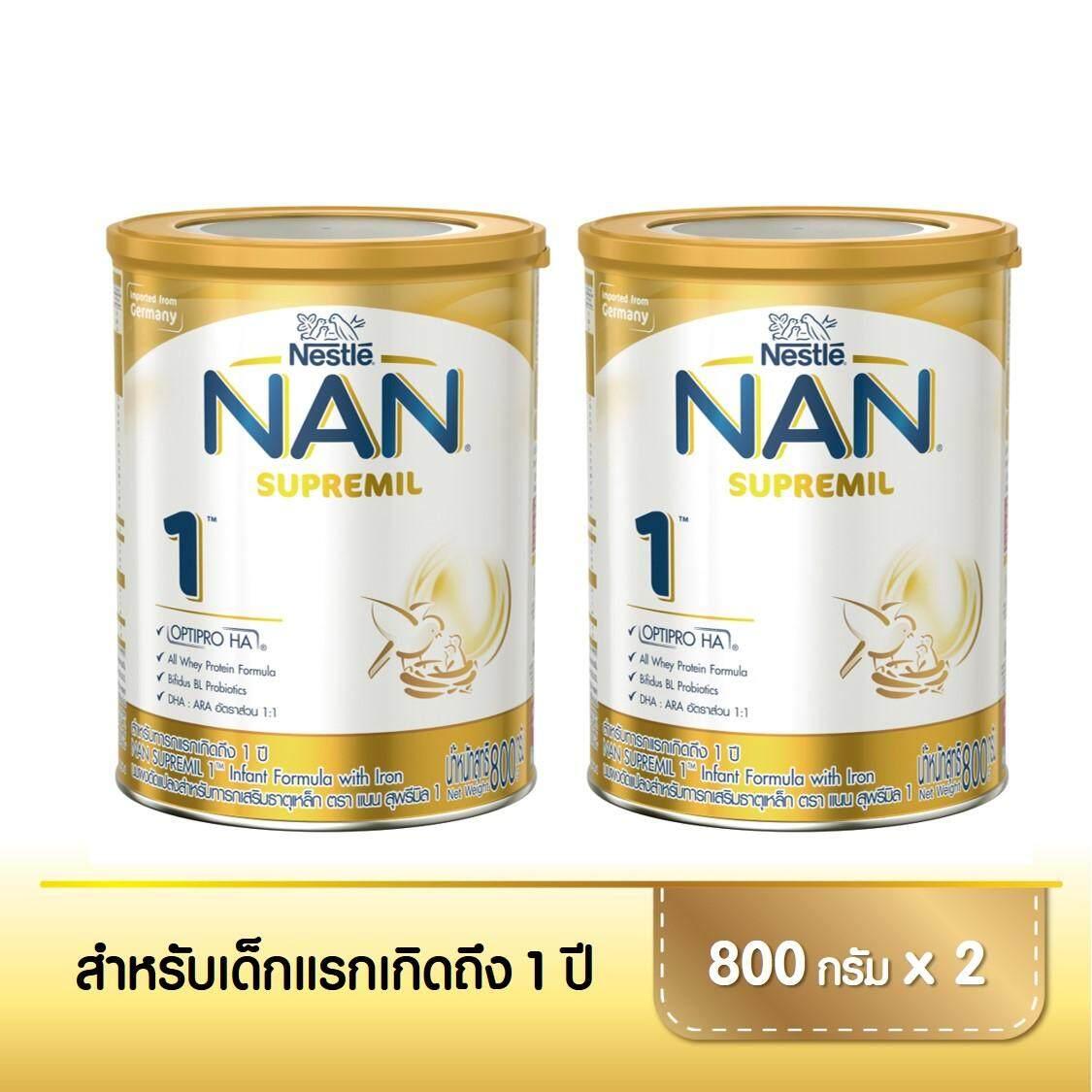 ขาย  แนน สุพรีมิล 1 นมผงดัดแปลงสำหรับทารกเสริมธาตุเหล็ก ขนาดกระป๋อง 800 กรัม x2 NAN SUPREMIL 1 Infant Formula 800 g x2 tins   สำหรับขาย ของแท้