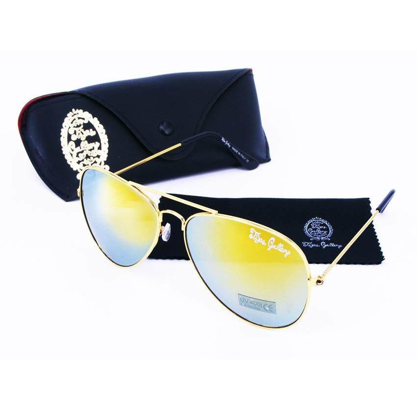 Tips Gallery แว่นตากันแดด รุ่น Le Pilote Design Vfr003 เลนส์ ปรอท ทอง Flash Gold Spectrum ฟรี กล่องแว่นตา และ ผ้าเช็ดแว่น Micro Fiber ถูก