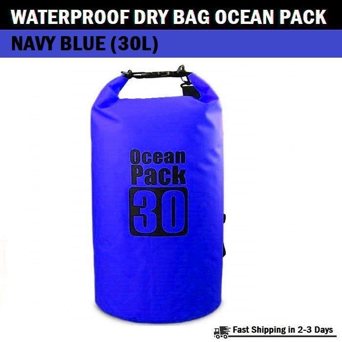 Qcase - กระเป๋ากันน้ำ ความจุ 30 ลิตร - Waterproof Dry Bag Roll Top Ocean Pack 30l For Kayaking, Boating, Swimming, Camping, Hiking, Fishing.