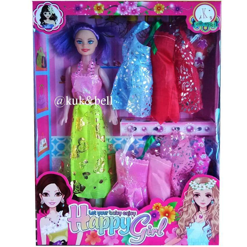 Patipan Toy ตุ๊กตาบาร์บี้ พร้อมชุดเสื้อผ้าเปลี่ยน 8 ชุด 092c By Patipan Toy.