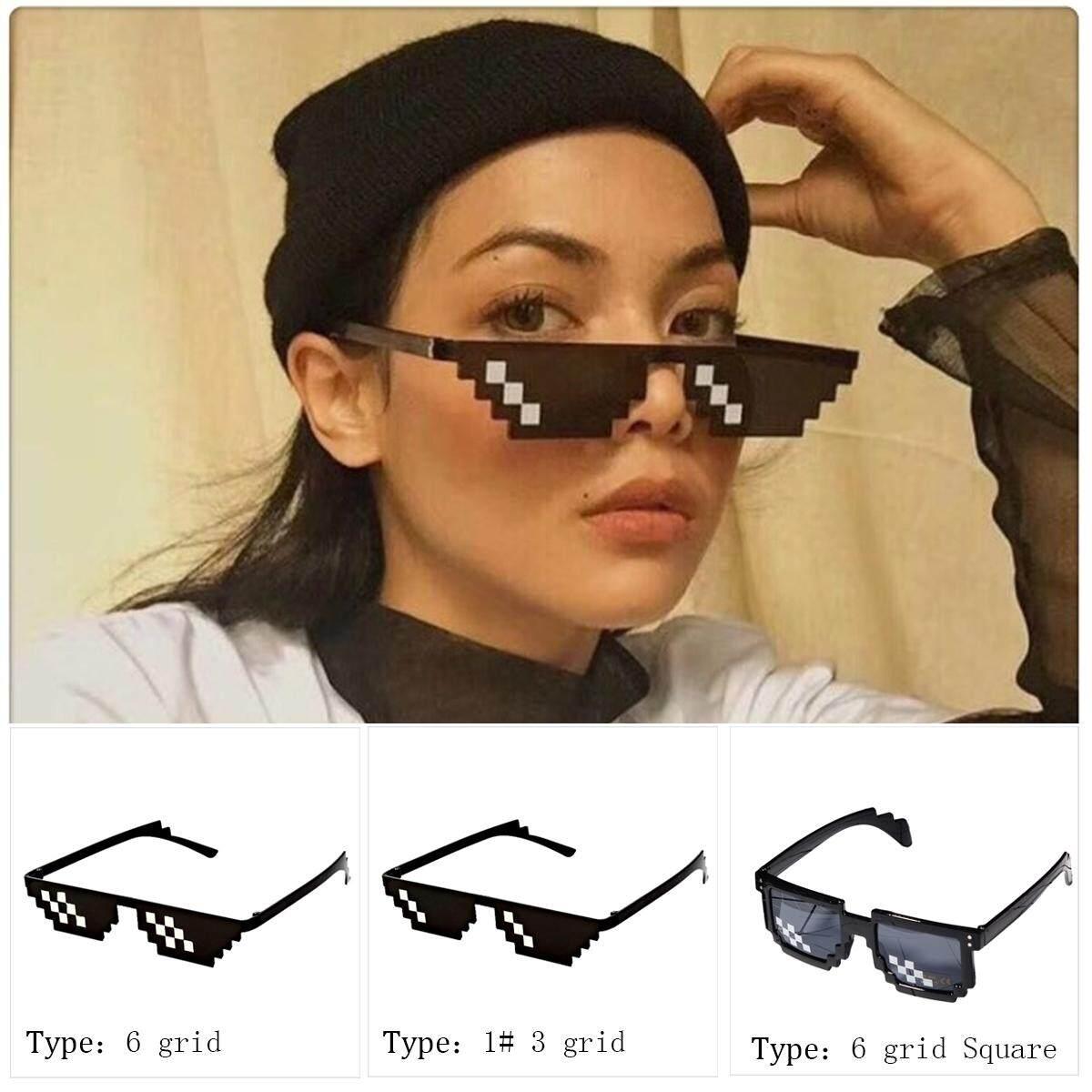 Yunmai แว่นตาหญิงชายแว่นตาชีวิตอันธพาล 8 - Bit Mlg แว่นกันแดดพิกเซลเลทสำหรับผู้เล่น Minecraft สไตล์: 6 Grid - Intl By Yantai Yunmiao Dianzi Shangwu Ltd.