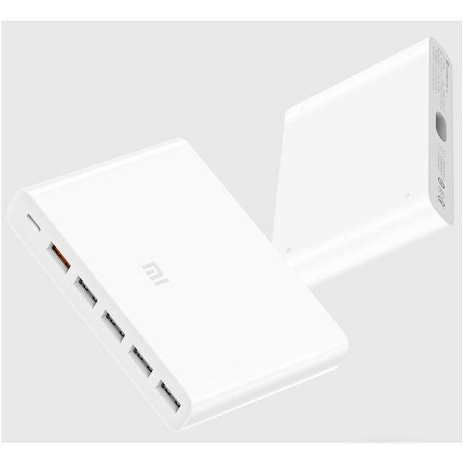 Original Xiaomi อุปกรณ์ชาร์จ USB แบบ 6 พอร์ตที่มีการจัดอันดับพลังงาน 60W Mi USB-C 60W(Total) Charger Smart Output 1 Type-C 5 USB-A Dual QC 3.0 Quick Charge 18W x2 + 24W(5V=2.4A MAX)