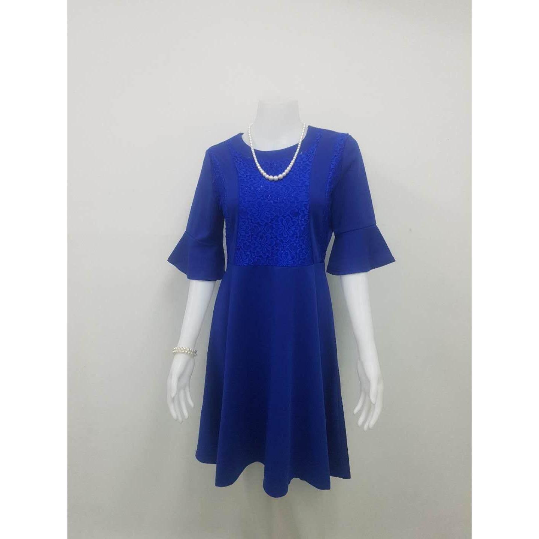 Baifa Shop ชุดเดรสผ้า มีซิปหลัง ทรงสวิงอย่างดี รุ่น C32023 อก34 38 เอว 28 32 สะโพก 28 38 ยาว 36 กรุงเทพมหานคร