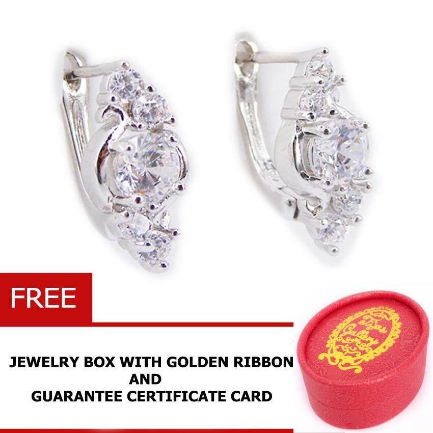 ขาย ซื้อ Tips Gallery ต่างหู เงิน 925 หุ้ม ทองคำ ขาว แท้ เพชร รัสเซีย 9 กะรัต รุ่น Floral Diamond Design Tes092 ฟรี กล่องจิวเวลรี