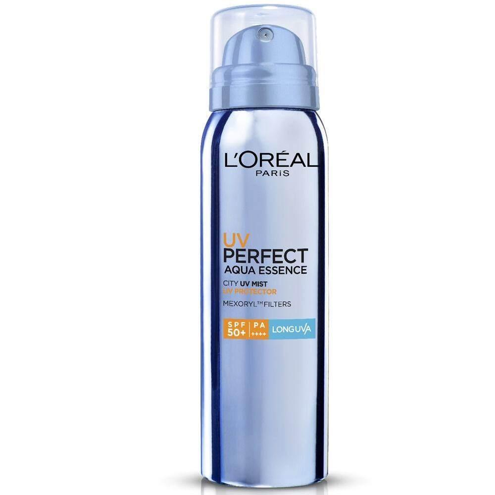 Loreal Uv Perfect Aqua Essence City Mist Spf50 Pa++ Sunscreen 64g. ลอรีอัล ยูวี เพอร์เฟคท์ อะควา เอสเซนต์ ซิตี้เฟสมิสท์ สเปรย์กันแดด.
