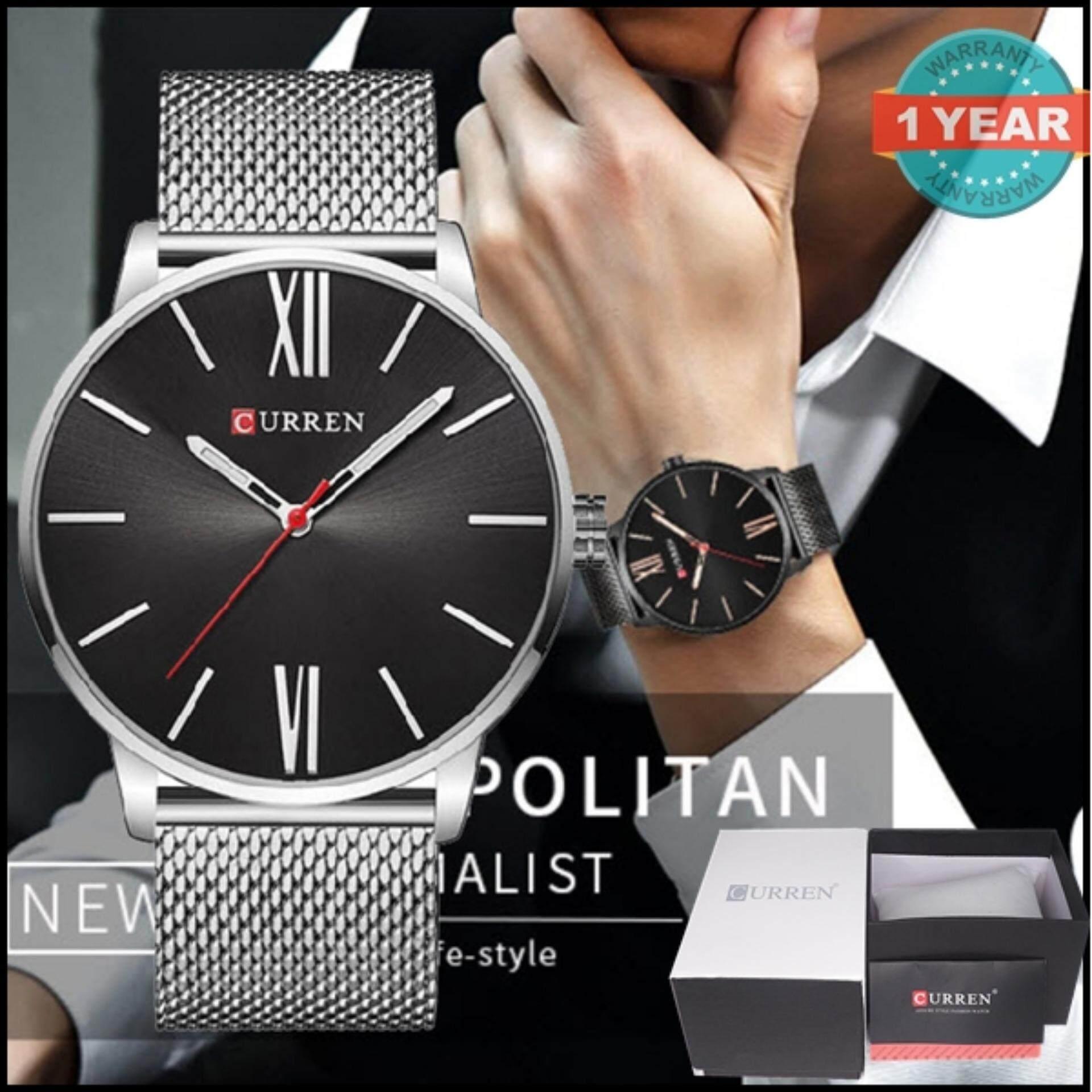 ราคา ราคาถูกที่สุด Curren นาฬิกาข้อมือสุภาพบุรุษ สายสแตนเลส สีดำ เงิน ตัวเลขโรมัน รุ่น C8238 Black