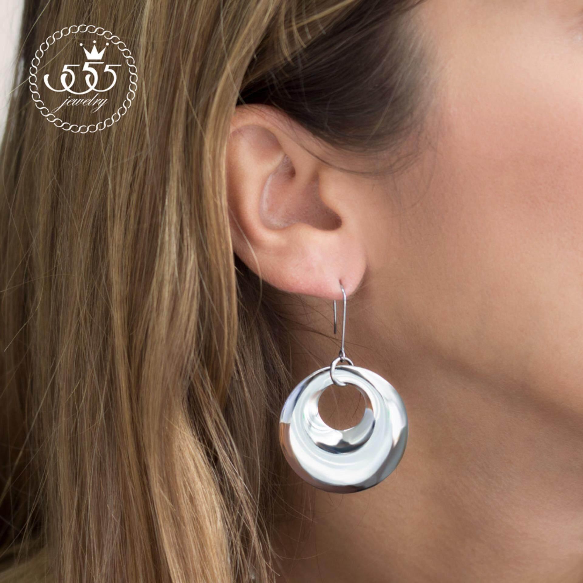 555jewelry ต่างหู สแตนเลสสตีล - แบบห้อยทรงโดนัทผิวปัดเงา (สี - สตีล) รุ่น MNC-ER562-A (ER 25) ต่างหู ต่างหูแฟชั่น ต่างหูหนีบ ต่างหูทอง ต่างหูเงิน ต่างหูผู้หญิง