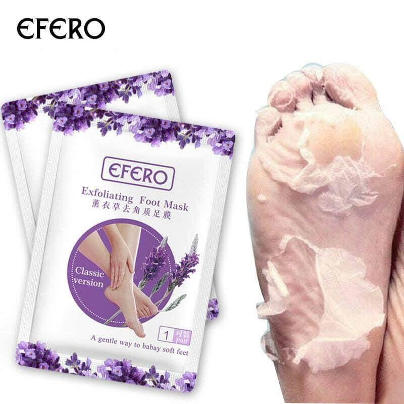 Efero Exfoliating Foot Mask มาส์กลอกเท้า ปรับเท้านุ่มเหมือนเท้าเด็ก( ได้ 1 คู่ )ลอกภายใน1-2วัน By Lemonyshop.