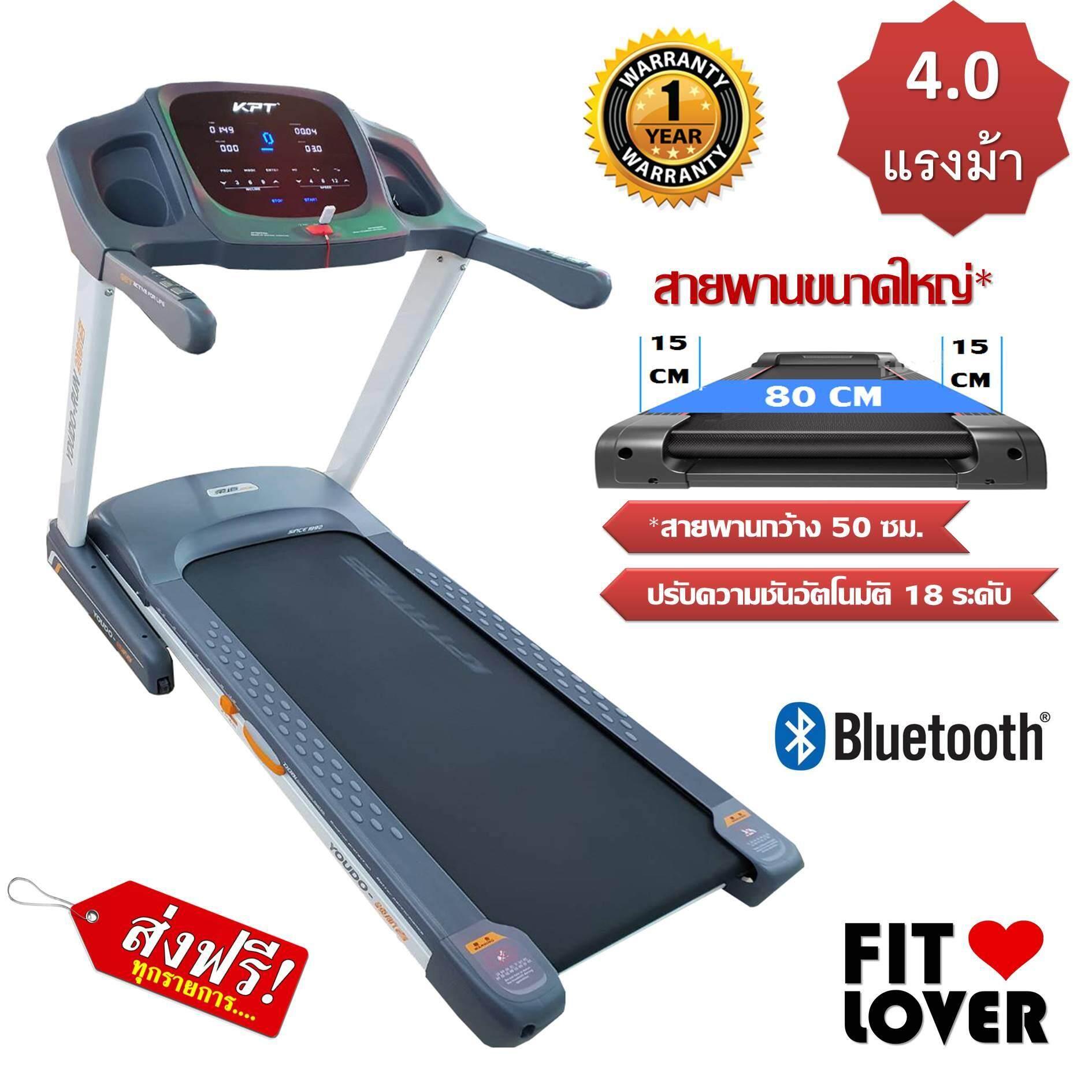 ลดสุดๆ Fit Lover ลู่วิ่งไฟฟ้า 4.0 แรงม้า 4.0 HP Electric Treadmill ปรับความชันอัตโนมัติ พับเก็บได้พร้อมระบบ Bluetooth