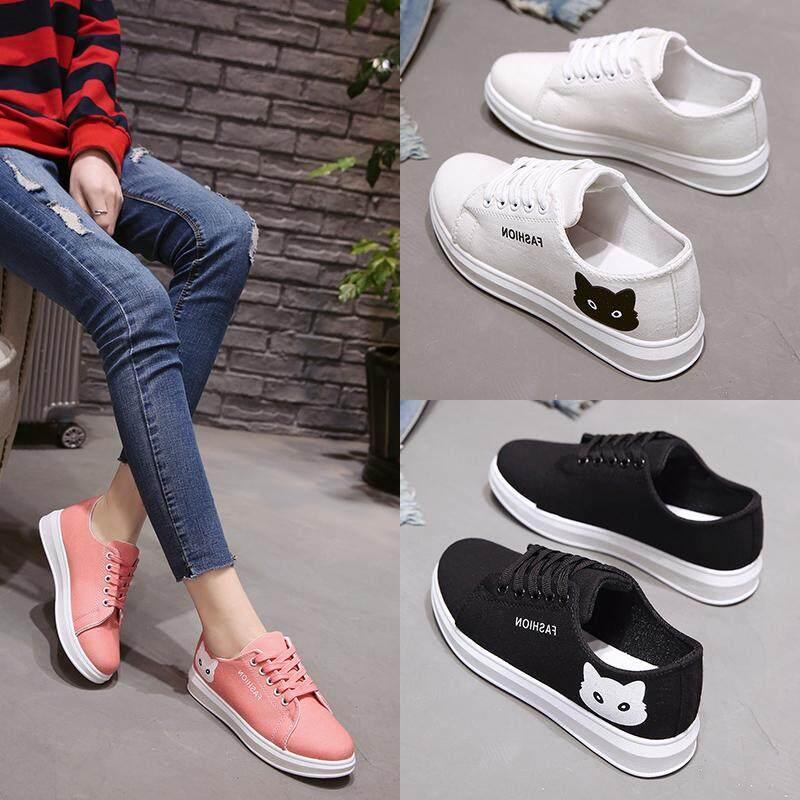 2018 New Fashion Diva รองเท้าผ้าใบแฟชั่น สไตล์เกาหลี ลายแมว 2 By Fin Tech.