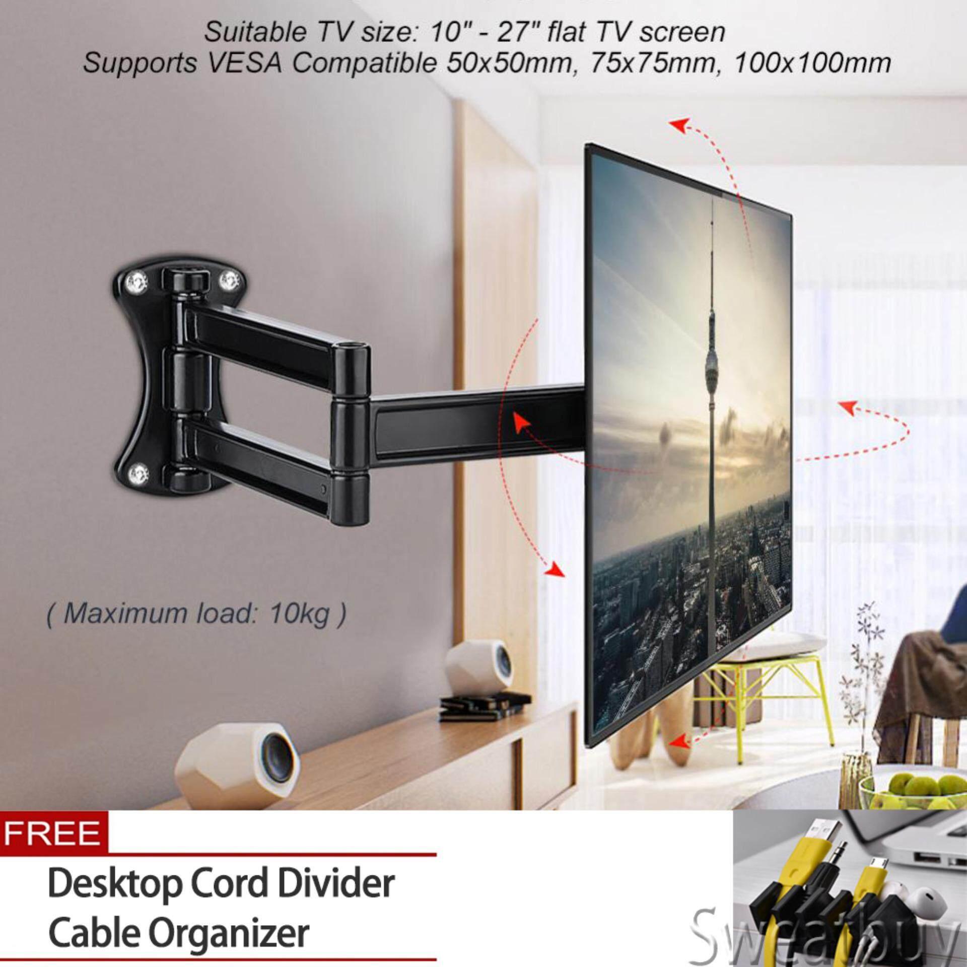 【Buy 1 Get 1 Free Gift】Tv Mount Wall Bracket Tilting Swivel Mount Stand Holder for 10-27 Inch Flat TV LED LCD Screen - intl