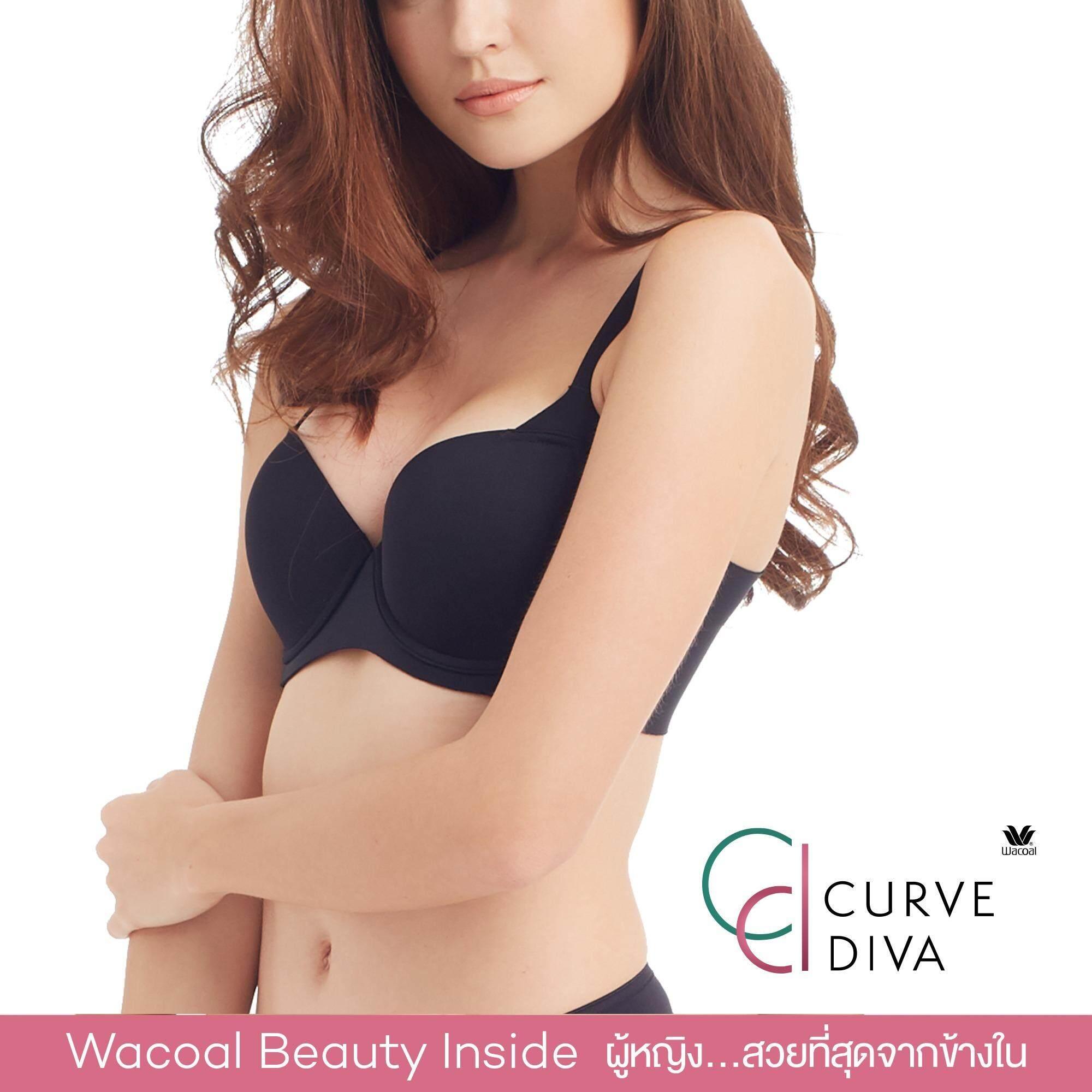Wacoal Curve Diva Seamless bra 4/5 Cup (สีดำ/BLACK) - WB7914BL