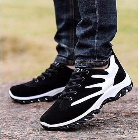 Aadine รองเท้า รองเท้าผ้าใบสีดำผู้ชาย แบบแฟชั่น เท่ๆ No.a044.