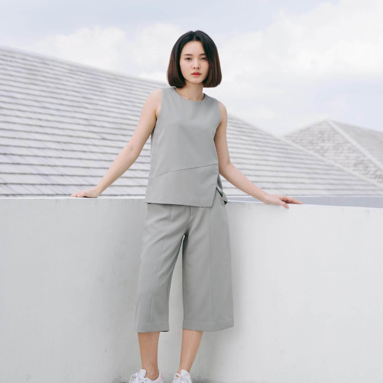 Queensway Sleeveless Cut Top Slate Grey