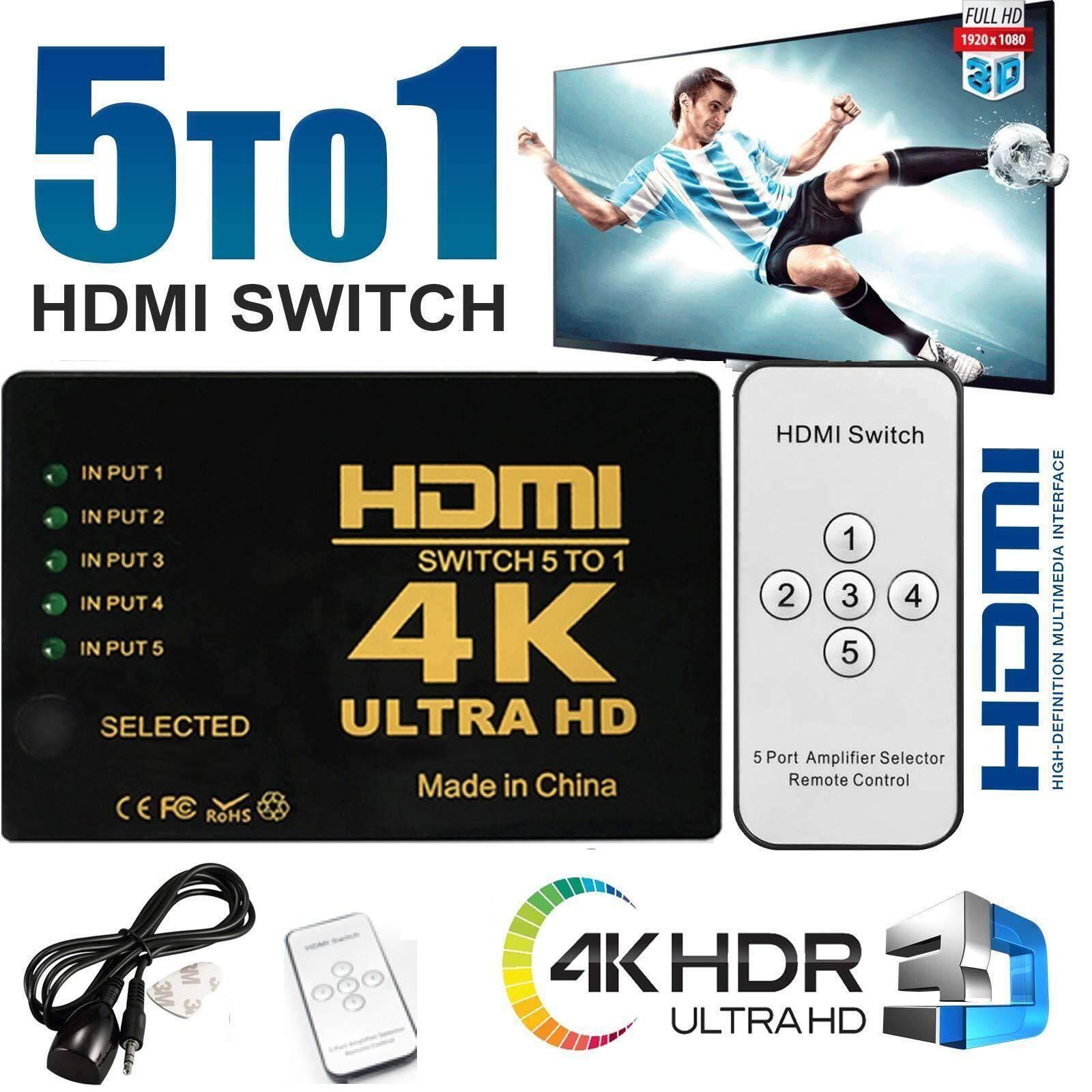 มาใหม่  5 Ports Full HD Remote 1080P 3D HDMI Switch Selector 5 in 1 out Splitter 4k 2k