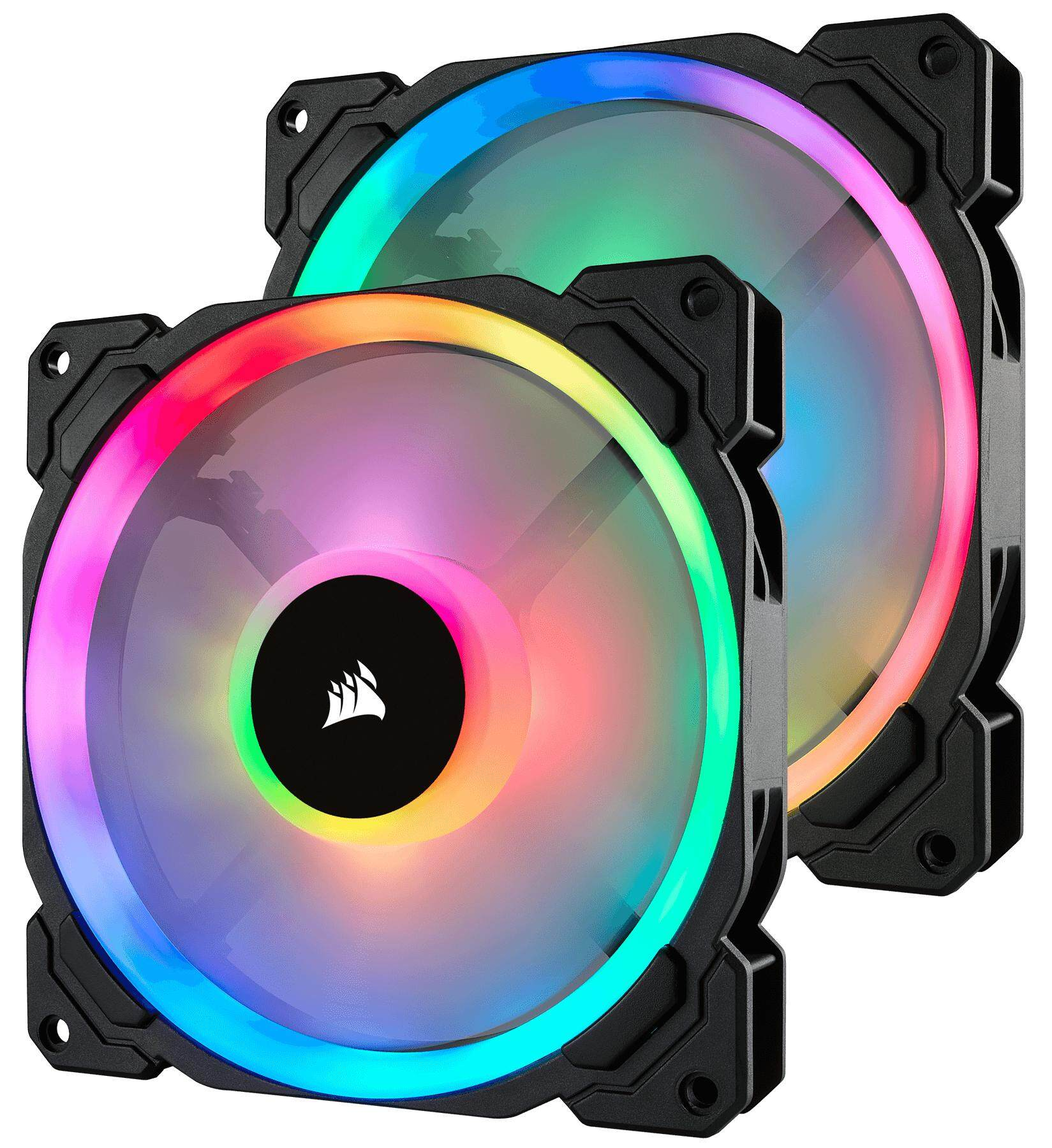 Corsair Ll140 Rgb 140mm Dual Light Loop Rgb Led Pwm Fan - 2 Fan Pack With Lighting Node Pro By Mycom Seacon.