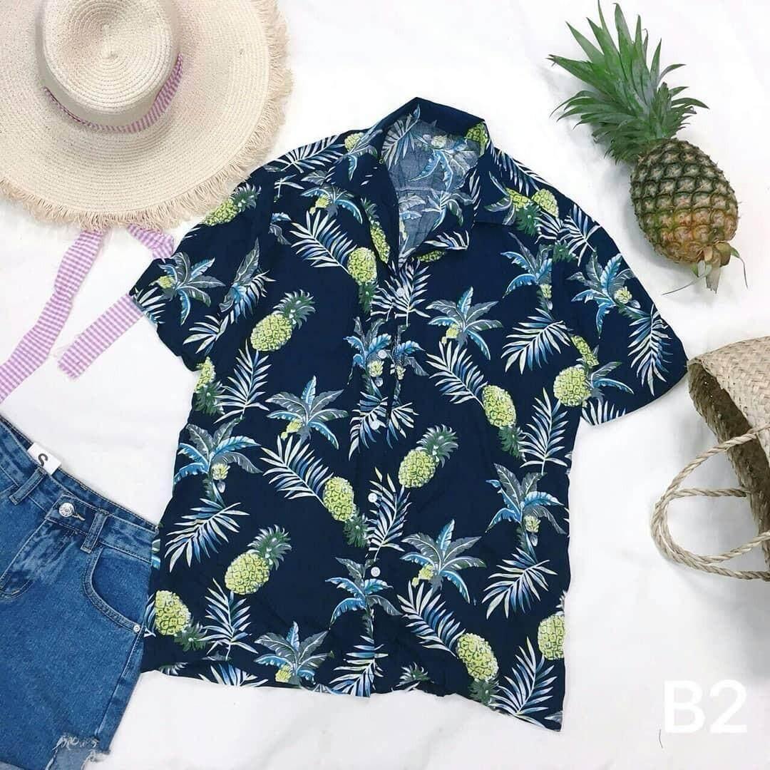 ราคา ราคาถูกที่สุด เสื้อฮาวายลายสัปปะรดลายยอดฮิต Hawaii Free Size 4 สี เนื้อผ้า สปัน นิ่ม พลิ้วๆๆ ไม่ซื้อไม่ได้แล้ว