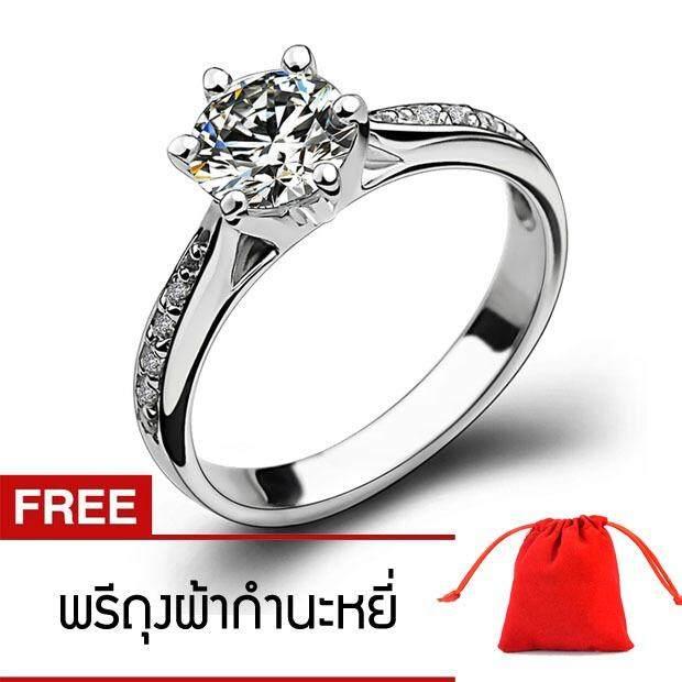 ราคา เครื่องประดับ ผู้หญิง แหวน แหวนน่ารักประดับ Cz สีขาวตัวเรือน ใหม่