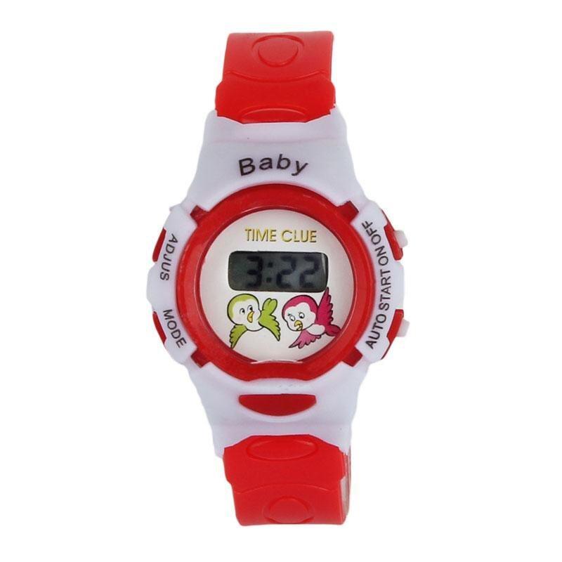 ใหม่นักเรียนหญิงชายเวลาอิเล็กทรอนิกส์ดิจิตอลนาฬิกาข้อมือกีฬาสีแดง-นานาชาติ