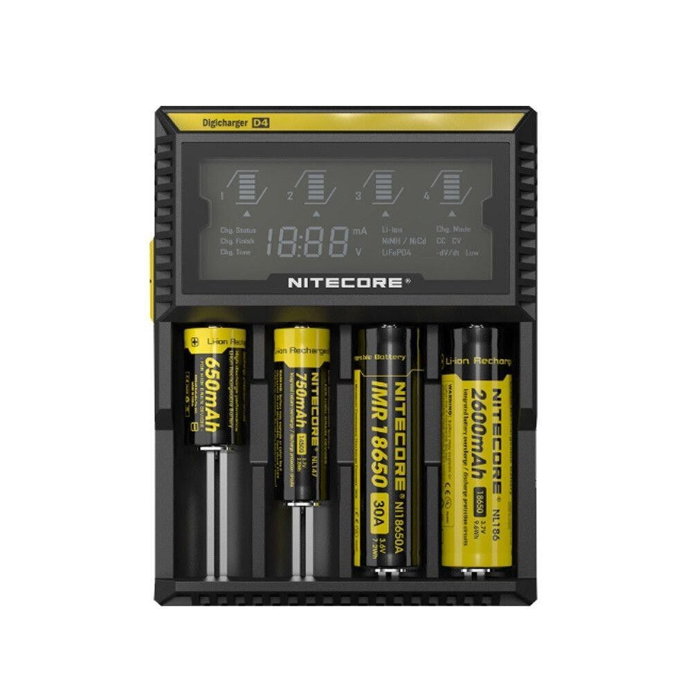 4 Slot Intellicharger Smart Charger Rechargeable Li-ion Battery Charger Digicharger D4 Charger Battery Charger Rechargeable Universal Charger IMR LiFeP04 Ni-MH (Ni-Cd) Charger For 10340 10350 10440 14500 18650 26650 AA AAA AAAA