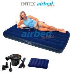 Intex ส่งฟรี ที่นอนเป่าลม แคมป์ปิ้ง ปิคนิค 3.5 ฟุต (ทวิน) 0.99x1.91x0.22 ม. รุ่น 68757 + หมอนและที่สูบลมไฟฟ้า