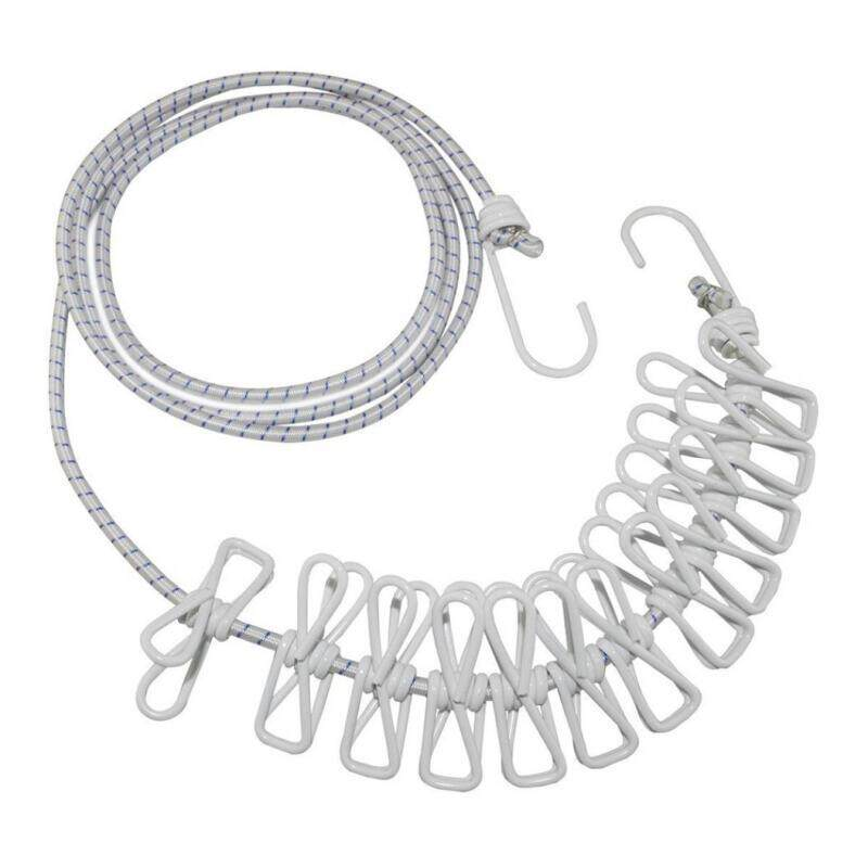 Portable Windproof Clothesline Hanger Travel Clothes Hanging Rope With 12 Clips By 333eddiecameron.