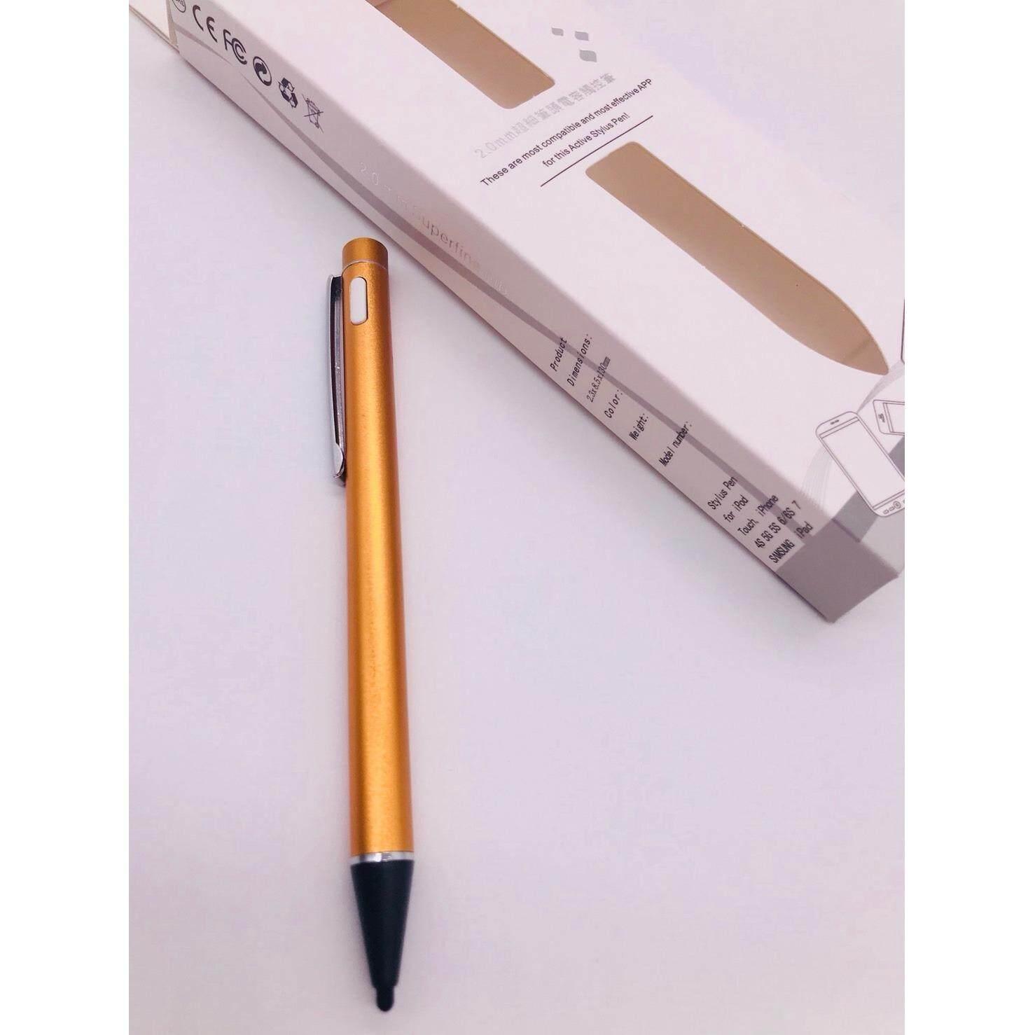 ปากกาใช้สำหรับเขียนหน้าจอ Samsung Tab ทุกรุ่น iPhone iPad ทุกรุ่น มีปุ่มปิด-เปิด(แถมหัวเปลี่ยน+สายชาร์จ)สีทอง