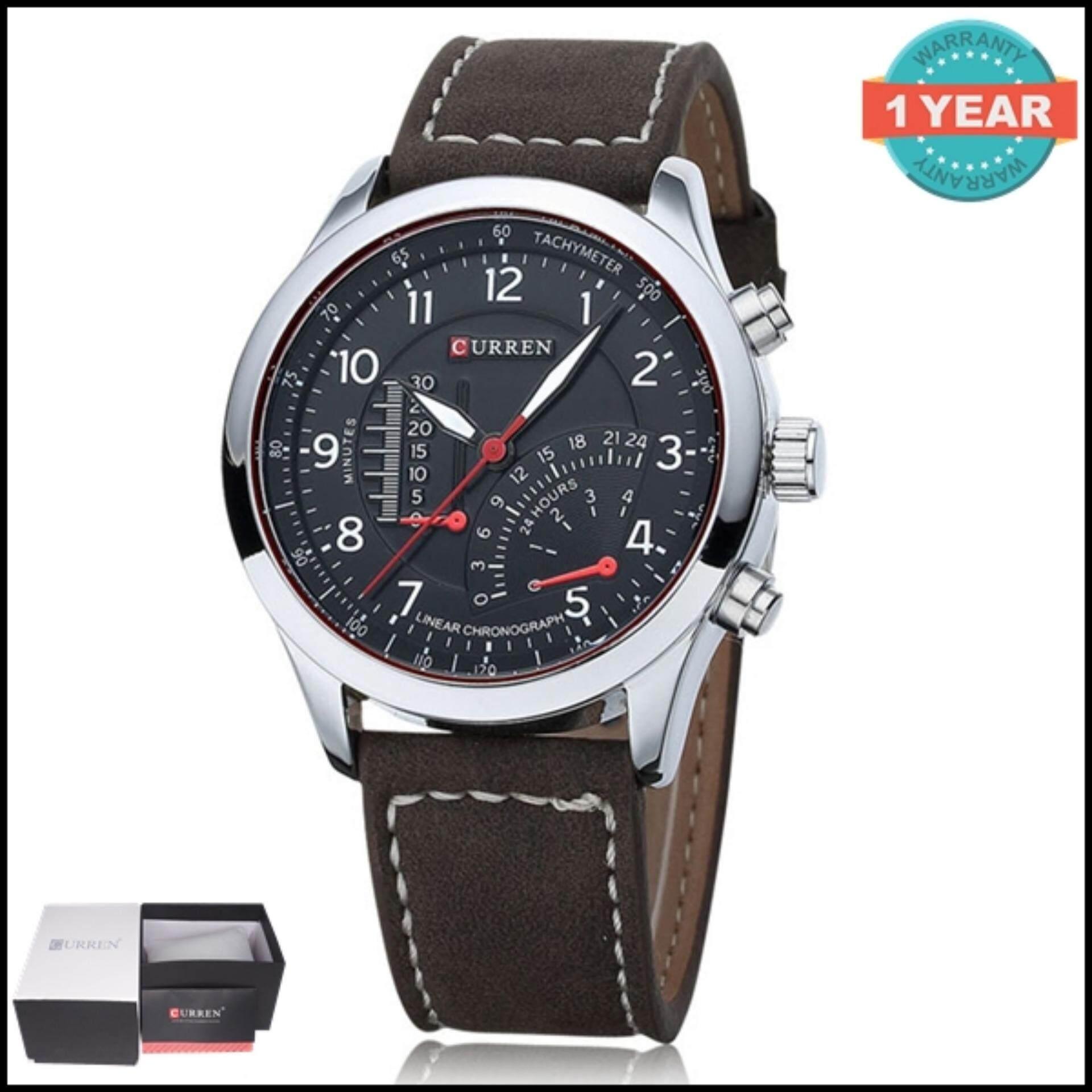 ซื้อ Curren นาฬิกาข้อมือสุภาพบุรุษ สีดำ เงิน สายหนัง รุ่น C8152 Curren ถูก