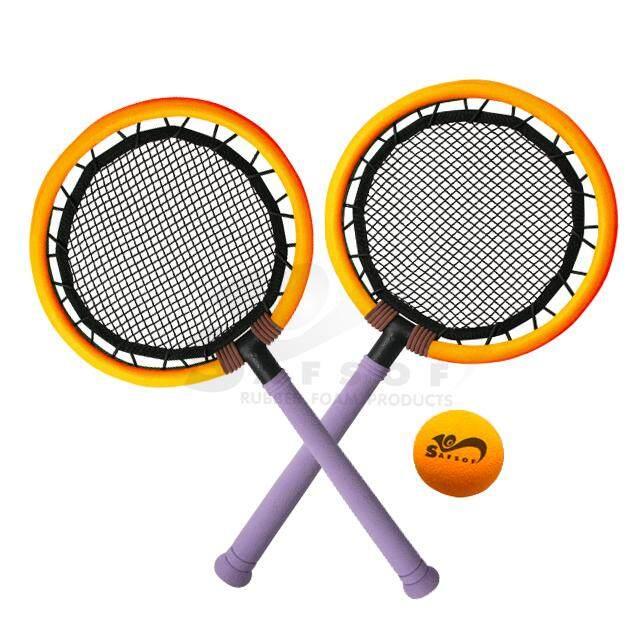 Badminton Racket Toy Set For Kids ชุดของเล่นไม้แร็กเกตแบดมินตันสำหรับเด็กพร้อมลูกแบดชุดไม้เร็กเก็ต รุ่น Bsk-03(b)-Z (ด้ามจับสีม่วงขอบส้ม บอลส้ม) By Noom.