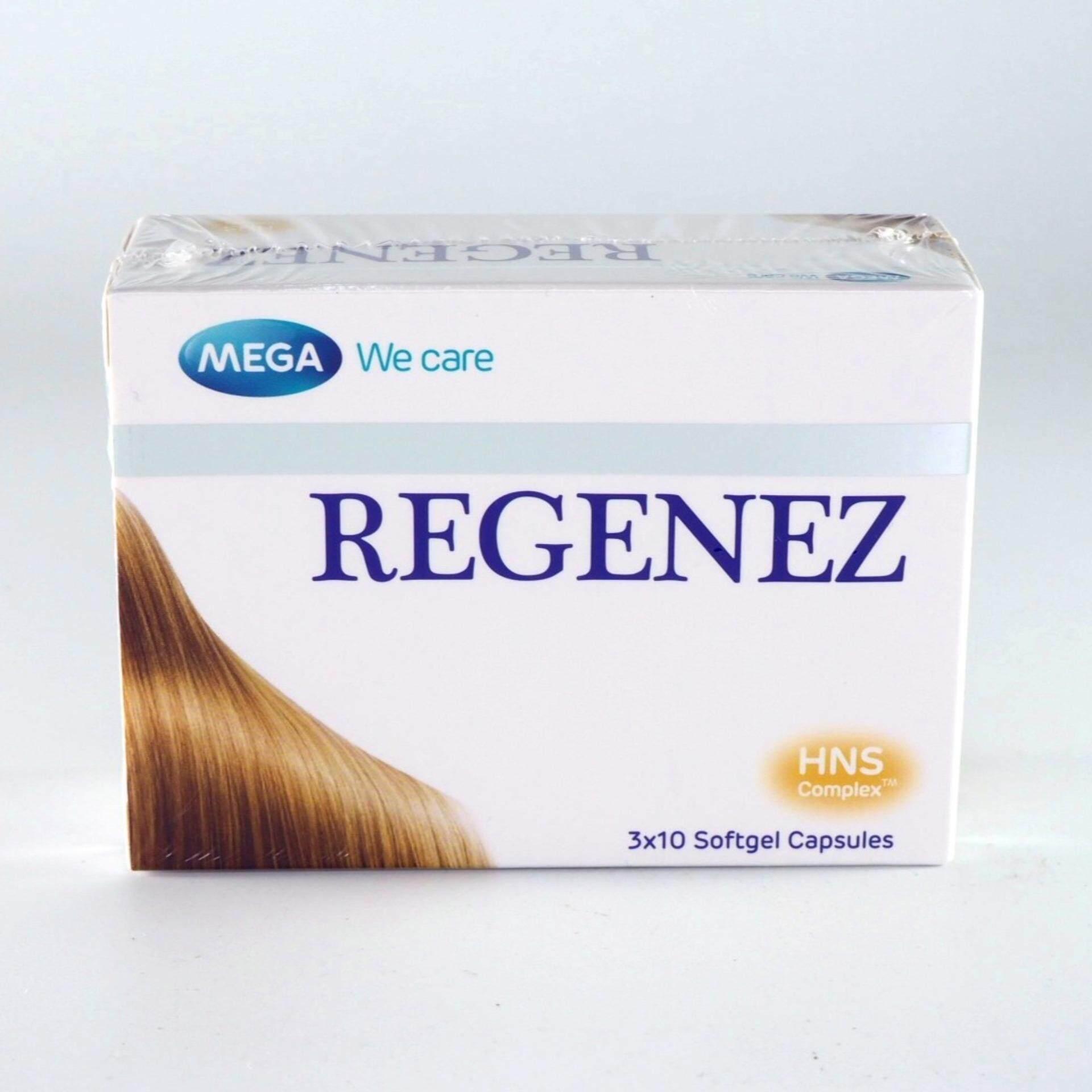 Mega We Care Regenez (30แคบซูล) ผลิตภัณฑ์เมก้า วีแคร์ รีจีเนซ (30แคบซูล) วิตามินสำหรับปัญหาผมร่วง ผมบาง ผมแห้ง แข็ง ชี้ฟู By Health Warehouse.