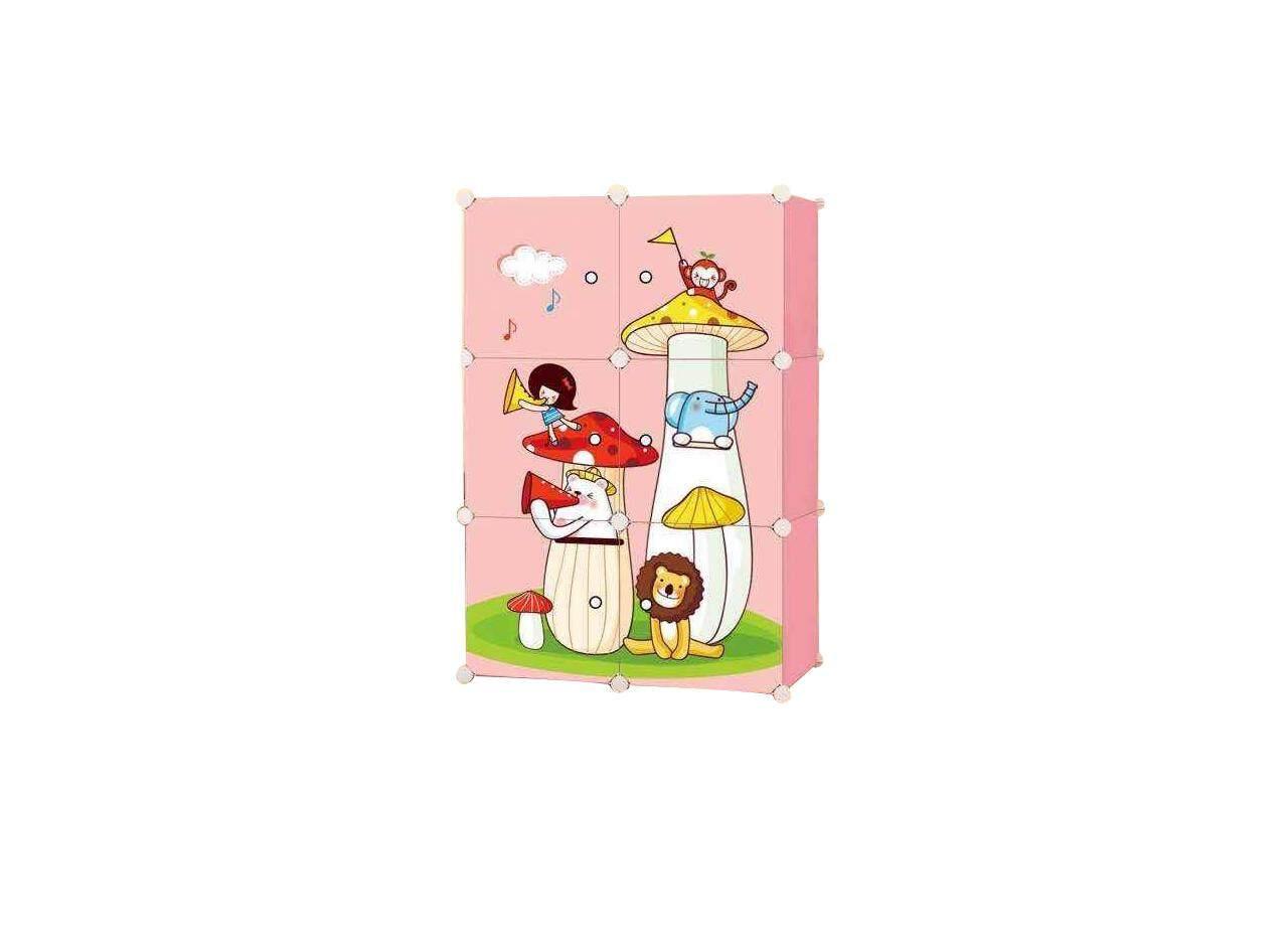 Diy Plus ตู้เสื้อผ้า ตู้เก็บของ ตู้อเนกประสงค์ ตู้เสื้อผ้าแบบพับเก็บได้ ถอดประกอบได้ [6boxa - ลายเห็ด สีชมพู].